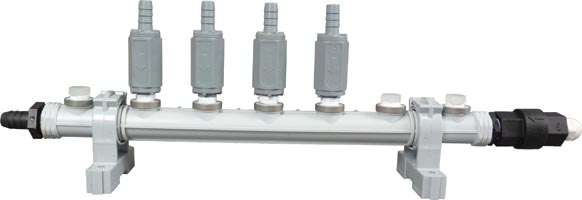 "DEMA Flush Manifold, 5 Station, 3/8"" Push Connect Chemical Ports, 3/8"" JG on Outlet - Click Image to Close"