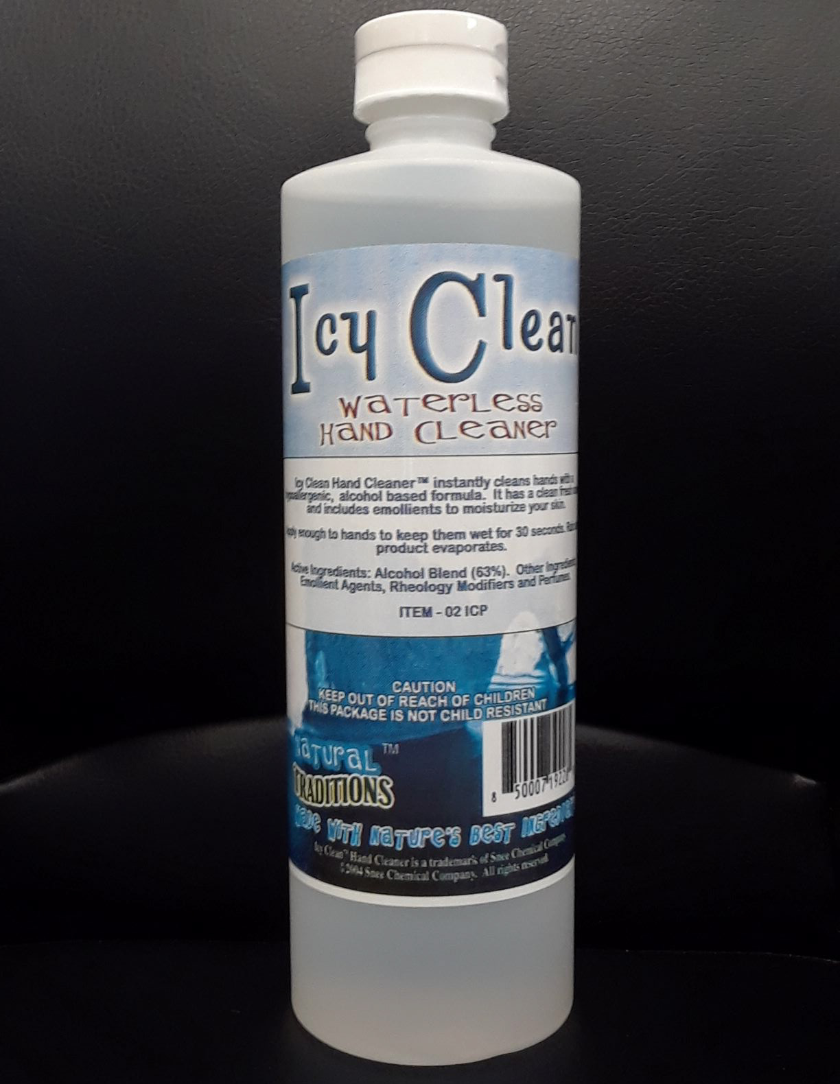 Icy Clean 63% Alcohol Waterless Hand Cleaner, Case of 16, 16 oz Bottles