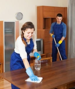 Professional cleaners dusting wooden furiture